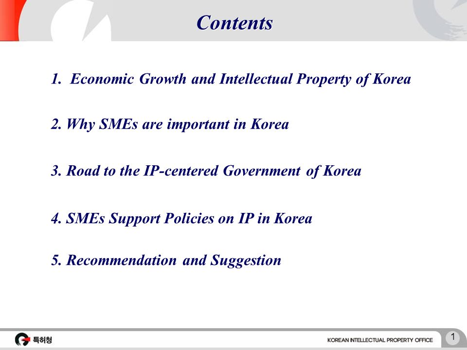 Overview of the National IP Policies and Services in Korea and Presentation of Their Best Practices Eulsoo Seo Counsellor, SMEs Divsion World Intellectual Property Organization