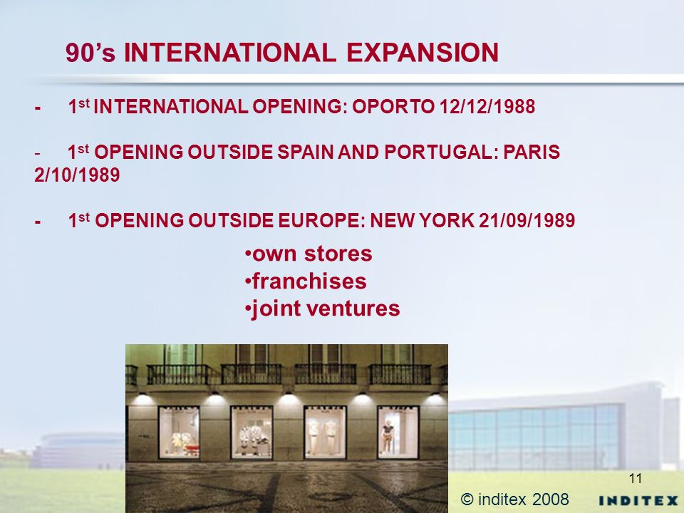 11 © inditex 2008 - 1 st INTERNATIONAL OPENING: OPORTO 12/12/1988 - 1 st OPENING OUTSIDE SPAIN AND PORTUGAL: PARIS 2/10/1989 -1 st OPENING OUTSIDE EUROPE: NEW YORK 21/09/1989 own stores franchises joint ventures 90s INTERNATIONAL EXPANSION