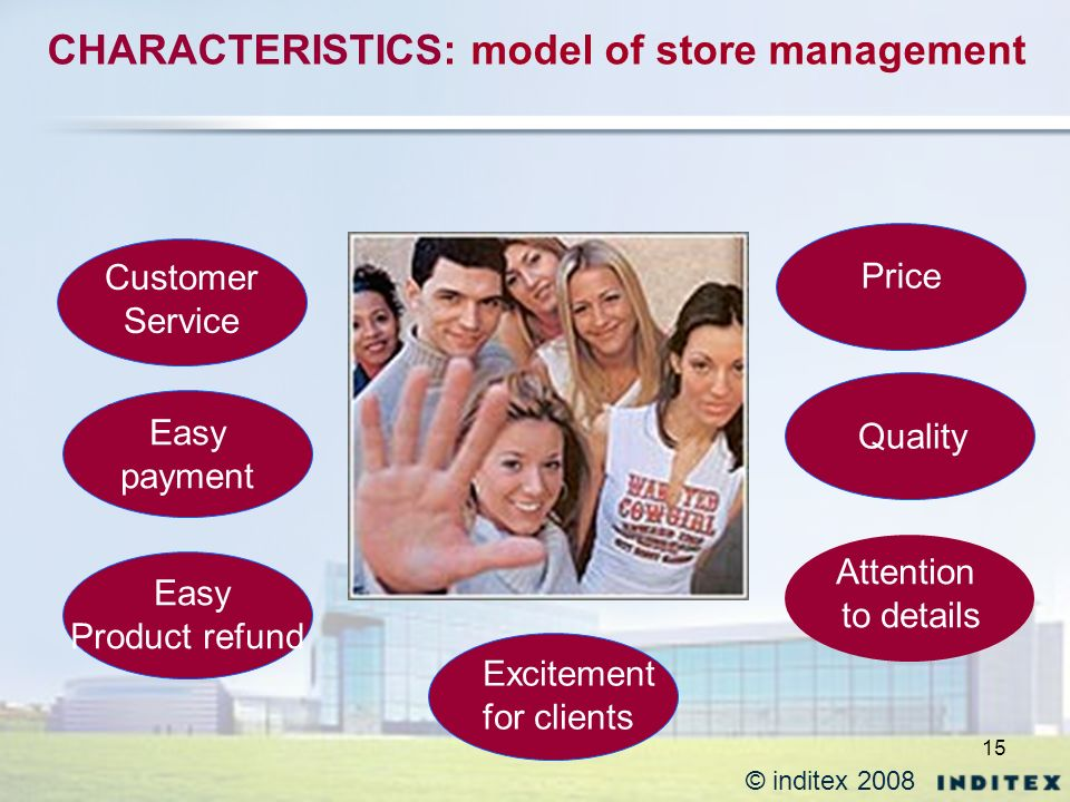 15 CHARACTERISTICS: model of store management Customer Service Easy payment Easy Product refund Excitement for clients Price Quality Attention to details © inditex 2008