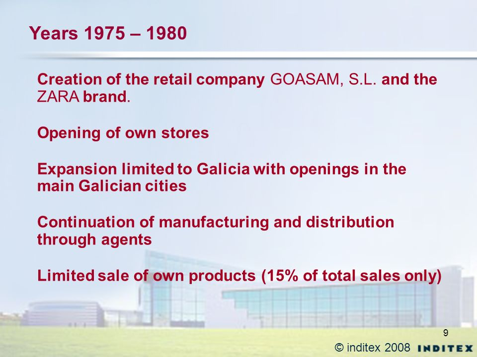 10 © inditex 2008 EXPANSION IN SPAIN + CONSOLIDATION OF BASIC BUSINESS PRINCIPLES Increase of own manufacturing Flexibility of production lines: Manufacturing in light of consumers demand Productive System of vertical integration Reinvestment of almost all the profits Strengthening of design and window dressing Departments Reduced periods of product rotation END 1988: 71 stores; 2,330 employees; turnover 21,000 m ptas 1 st INTERNACIONAL TRADEMARK application: 1984 Years 1980 – 1988
