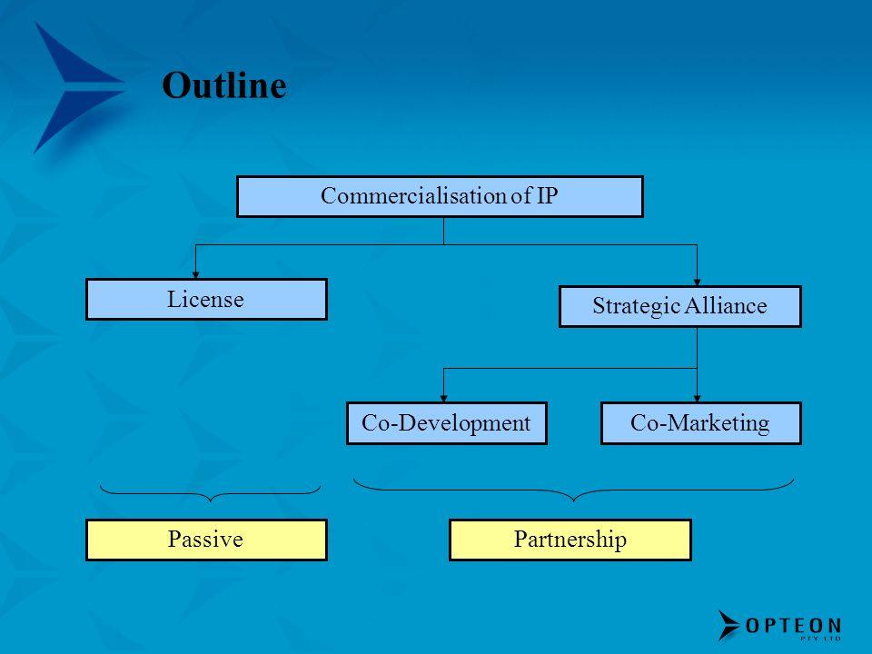 Outline Commercialisation of IP License Strategic Alliance Co-DevelopmentCo-Marketing PassivePartnership