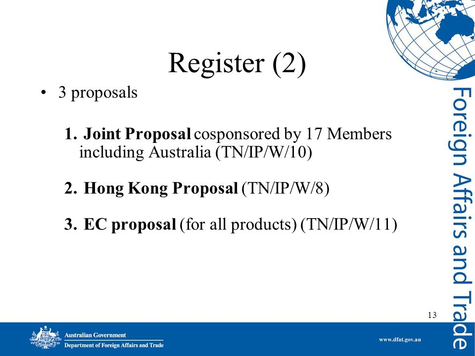 13 Register (2) 3 proposals 1. Joint Proposal cosponsored by 17 Members including Australia (TN/IP/W/10) 2. Hong Kong Proposal (TN/IP/W/8) 3. EC propo