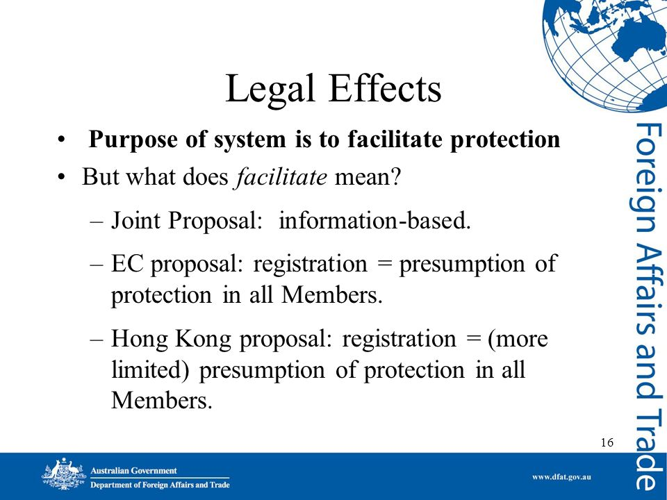 16 Legal Effects Purpose of system is to facilitate protection But what does facilitate mean.