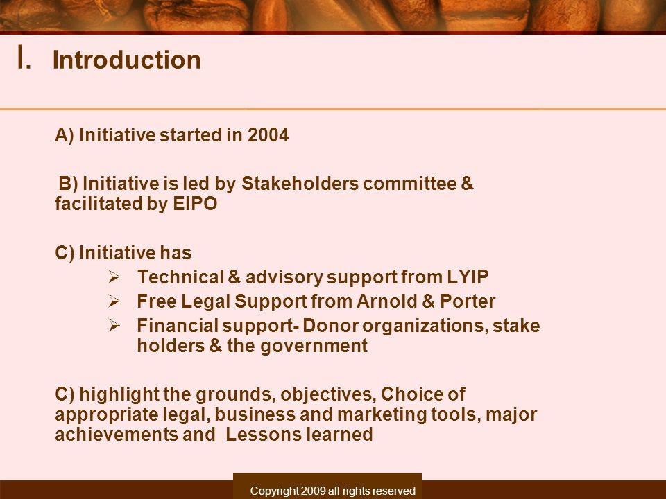 Copyright 2007, All rights reserved. I. Introduction A) Initiative started in 2004 B) Initiative is led by Stakeholders committee & facilitated by EIP
