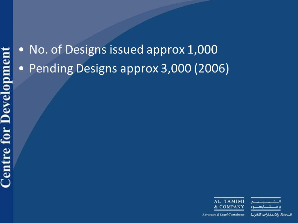 No. of Designs issued approx 1,000 Pending Designs approx 3,000 (2006)