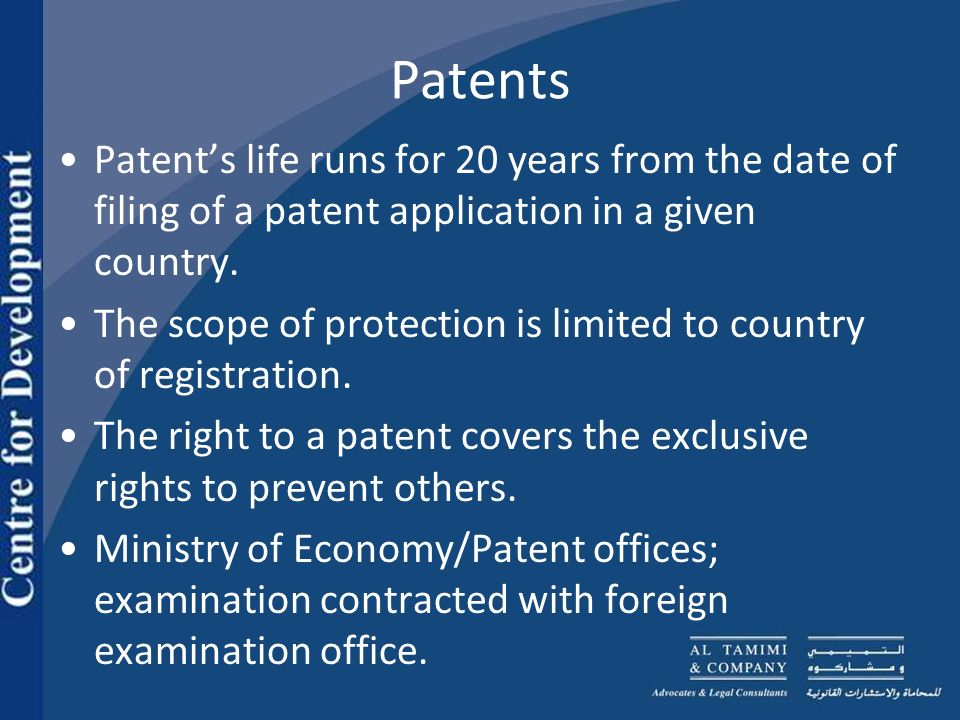 Patent Filing Process Filled out English and Arabic form CD of patent application forms in soft copies and Copy of Priority Document Patents Office retains Excel sheets of Applicants and Inventor Details as well as Priority Details Grace Period 90 Days for outstanding Documents (POA, DOA and Certificate of Incorporation, Certified Copy of Priority Document if Using Paris Convention).