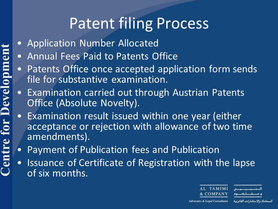 Patent filing Process No.of patents granted (200) No.