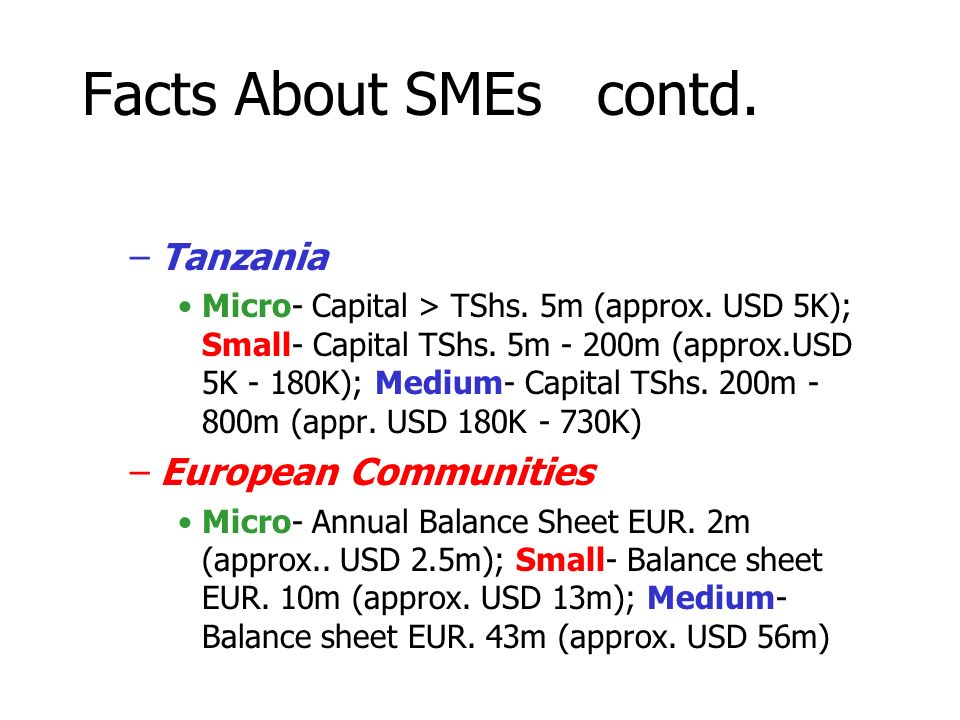 Facts About SMEs contd. –Tanzania Micro- Capital > TShs.