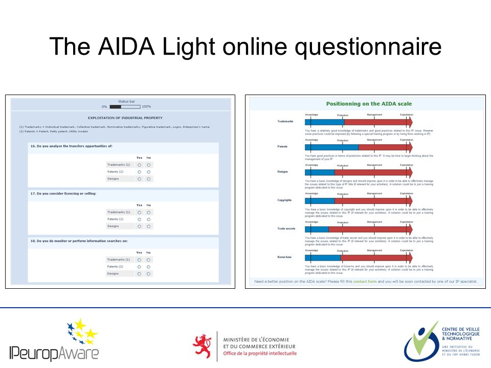The logotype of your organization The AIDA Light online questionnaire