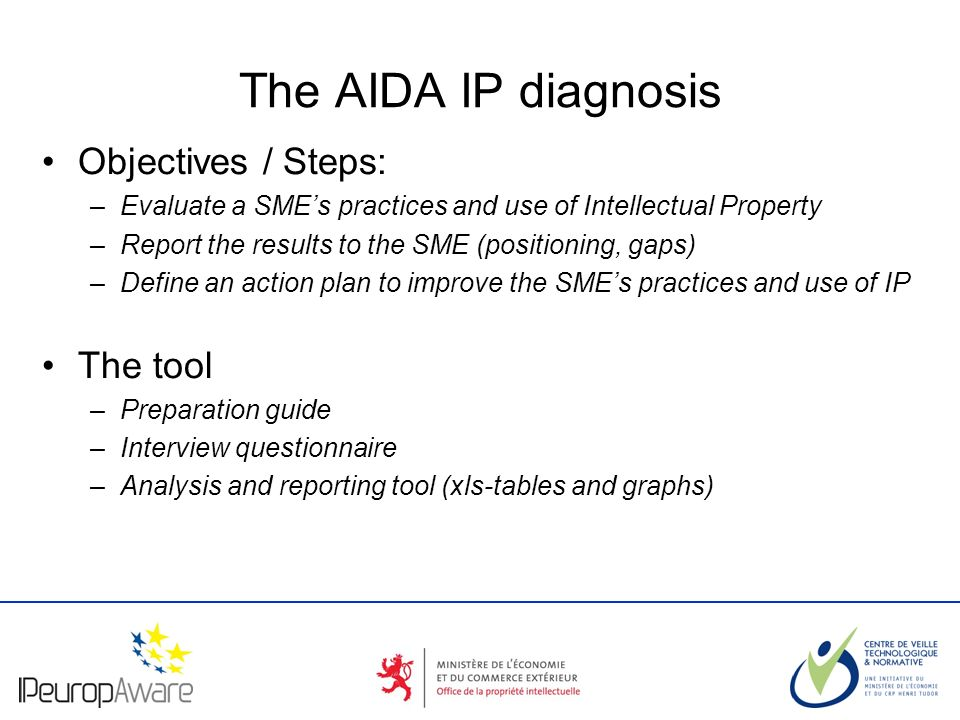 The logotype of your organization The AIDA IP diagnosis Objectives / Steps: –Evaluate a SMEs practices and use of Intellectual Property –Report the results to the SME (positioning, gaps) –Define an action plan to improve the SMEs practices and use of IP The tool –Preparation guide –Interview questionnaire –Analysis and reporting tool (xls-tables and graphs)