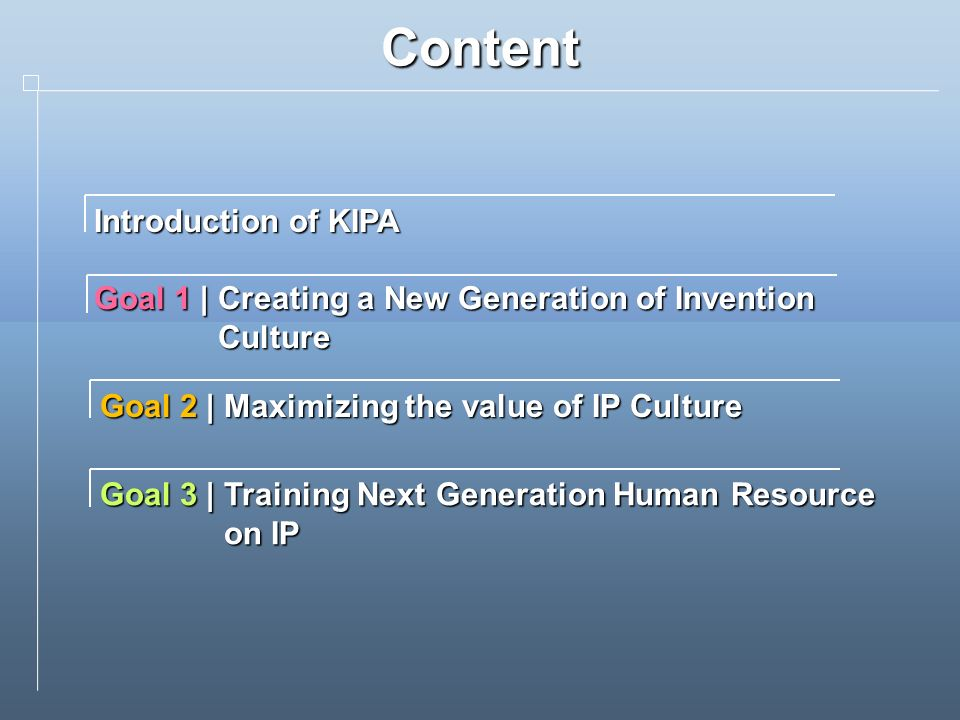 Content Introduction of KIPA Goal 1 | Creating a New Generation of Invention Culture Goal 2 | Maximizing the value of IP Culture Goal 3 | Training Next Generation Human Resource on IP