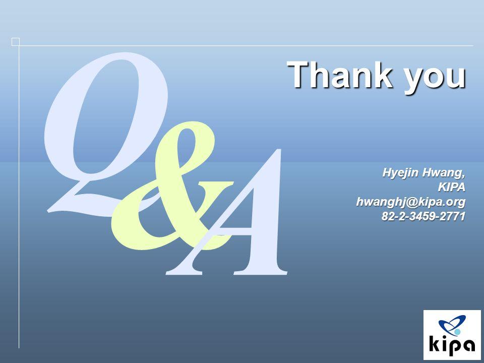 Thank you Hyejin Hwang, KIPAhwanghj@kipa.org82-2-3459-2771 Q & A