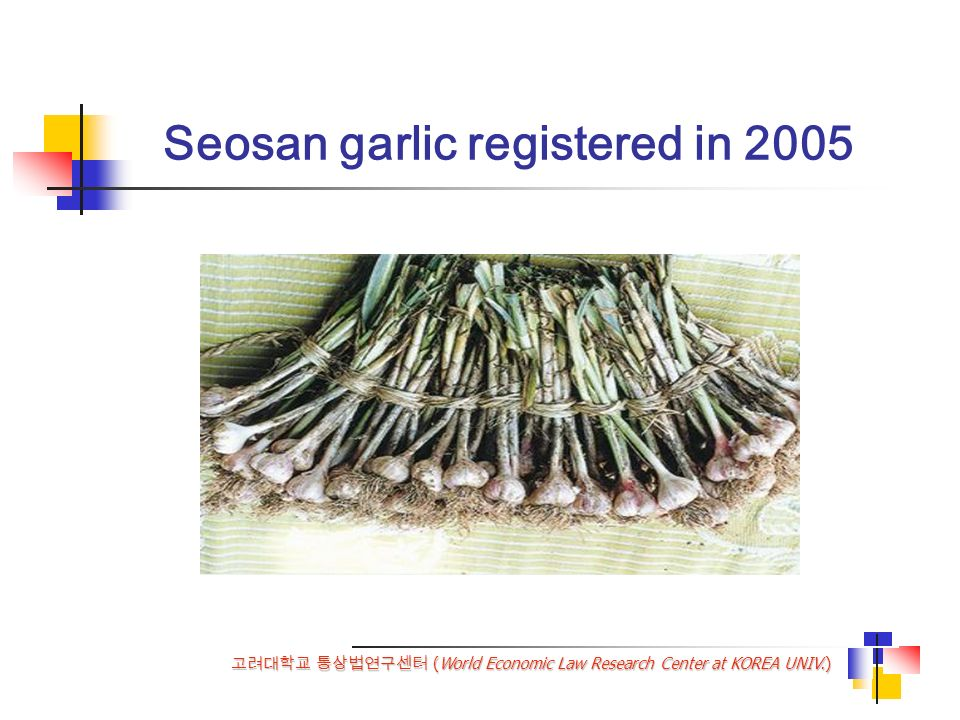 (World Economic Law Research Center at KOREA UNIV.) Seosan garlic registered in 2005