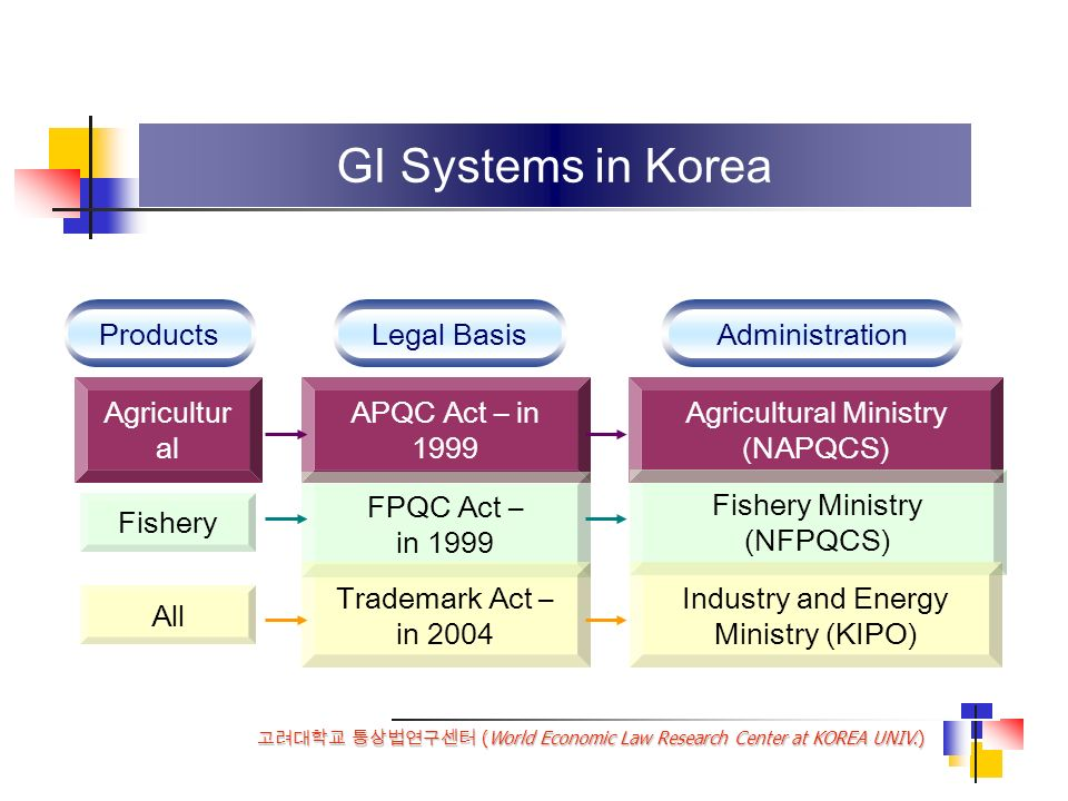 (World Economic Law Research Center at KOREA UNIV.) GI Systems in Korea ProductsLegal BasisAdministration Agricultur al Fishery All APQC Act – in 1999 FPQC Act – in 1999 Trademark Act – in 2004 Agricultural Ministry (NAPQCS) Fishery Ministry (NFPQCS) Industry and Energy Ministry (KIPO)