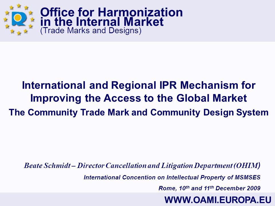 Office for Harmonization in the Internal Market (Trade Marks and Designs) WWW.OAMI.EUROPA.EU Information: (+ 34) 965 139 100 (switchboard) (+ 34) 965 139 400 (e-business technical incidents) (+ 34) 965 131 344 (main fax) information@oami.europa.eu e-businesshelp@oami.europa.eu Office for Harmonization in the Internal Market (Trade Marks and Designs) Avenida de Europa, 4 E-03008 Alicante SPAIN