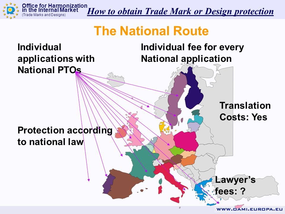 Office for Harmonization in the Internal Market (Trade Marks and Designs) Individual applications with National PTOs The National Route Individual fee for every National application Translation Costs: Yes Lawyers fees: .