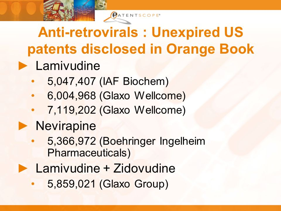 Anti-retrovirals : Unexpired US patents disclosed in Orange Book Lamivudine 5,047,407 (IAF Biochem) 6,004,968 (Glaxo Wellcome) 7,119,202 (Glaxo Wellcome) Nevirapine 5,366,972 (Boehringer Ingelheim Pharmaceuticals) Lamivudine + Zidovudine 5,859,021 (Glaxo Group)