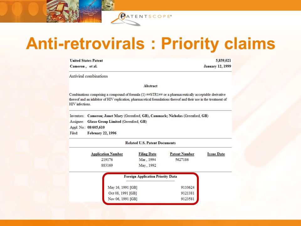 Anti-retrovirals : Priority claims