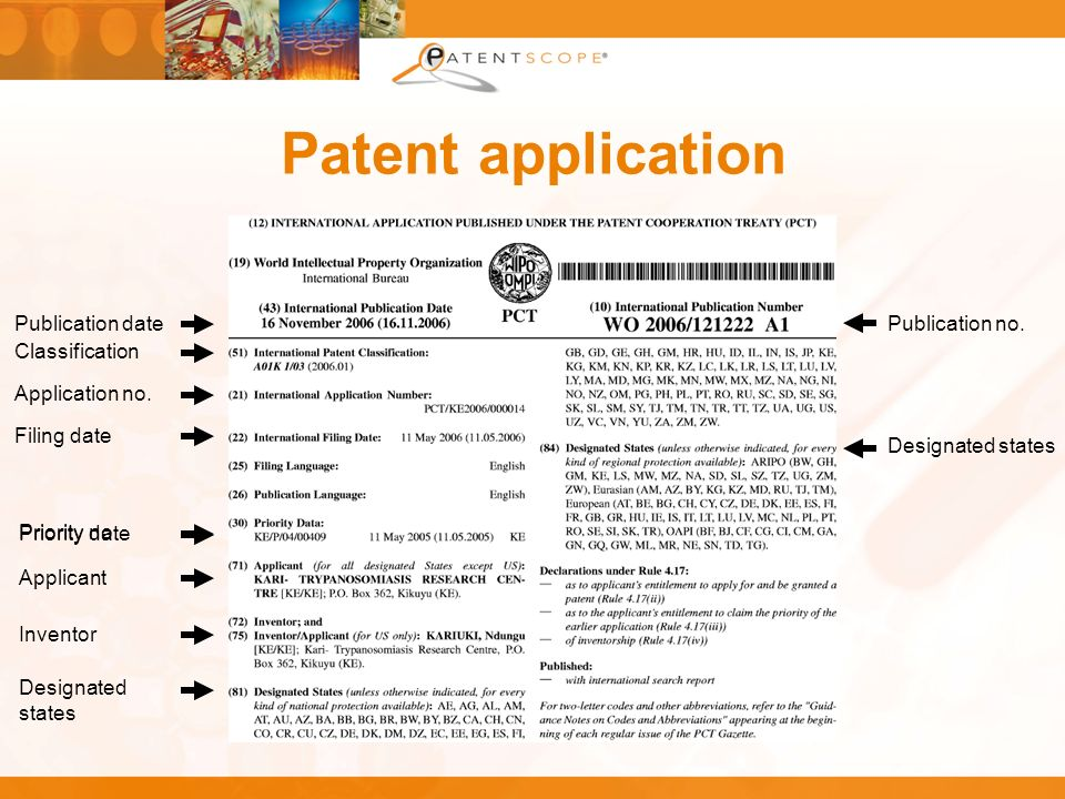 Patent application Classification Application no. Filing date Priority no. Applicant Inventor Designated states Publication no.Publication date Priori