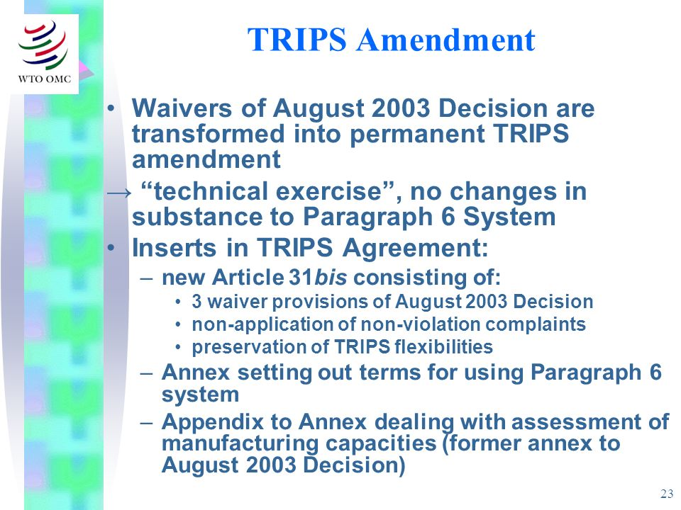 23 TRIPS Amendment Waivers of August 2003 Decision are transformed into permanent TRIPS amendment technical exercise, no changes in substance to Parag