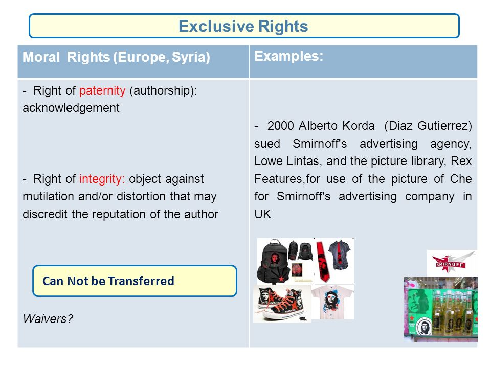 Moral Rights (Europe, Syria) Examples: - Right of paternity (authorship): acknowledgement - Right of integrity: object against mutilation and/or distortion that may discredit the reputation of the author Waivers.