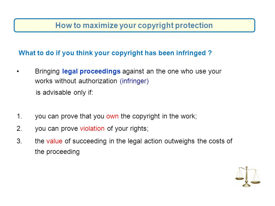 What to do if you think your copyright has been infringed .
