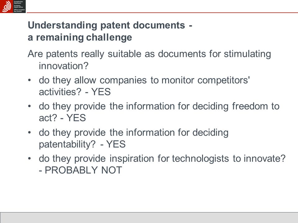 Are patents really suitable as documents for stimulating innovation.