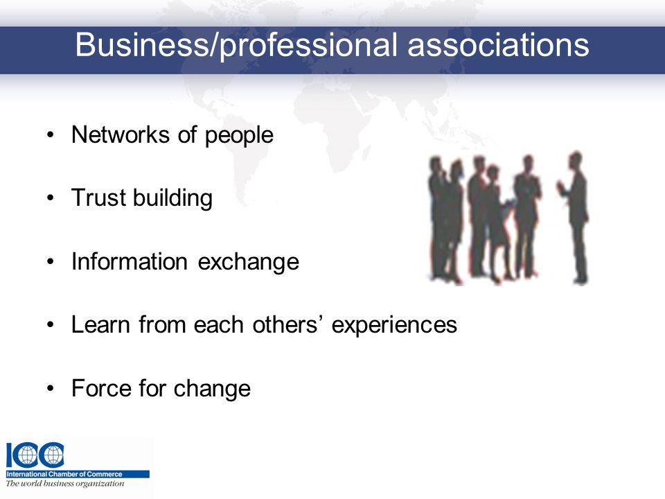 Business/professional associations Networks of people Trust building Information exchange Learn from each others experiences Force for change