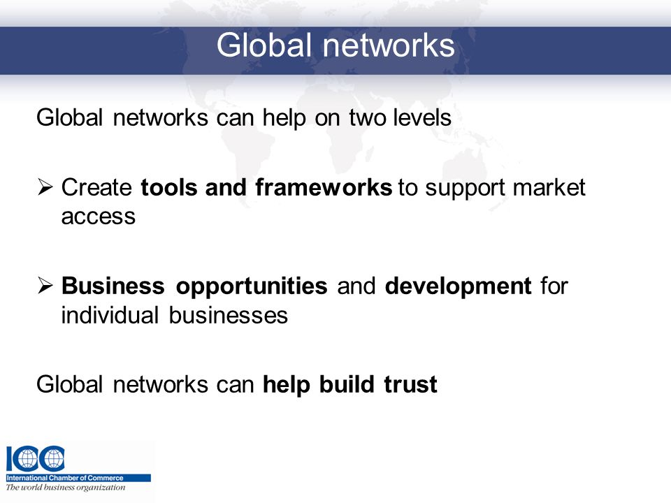 Global networks Global networks can help on two levels Create tools and frameworks to support market access Business opportunities and development for