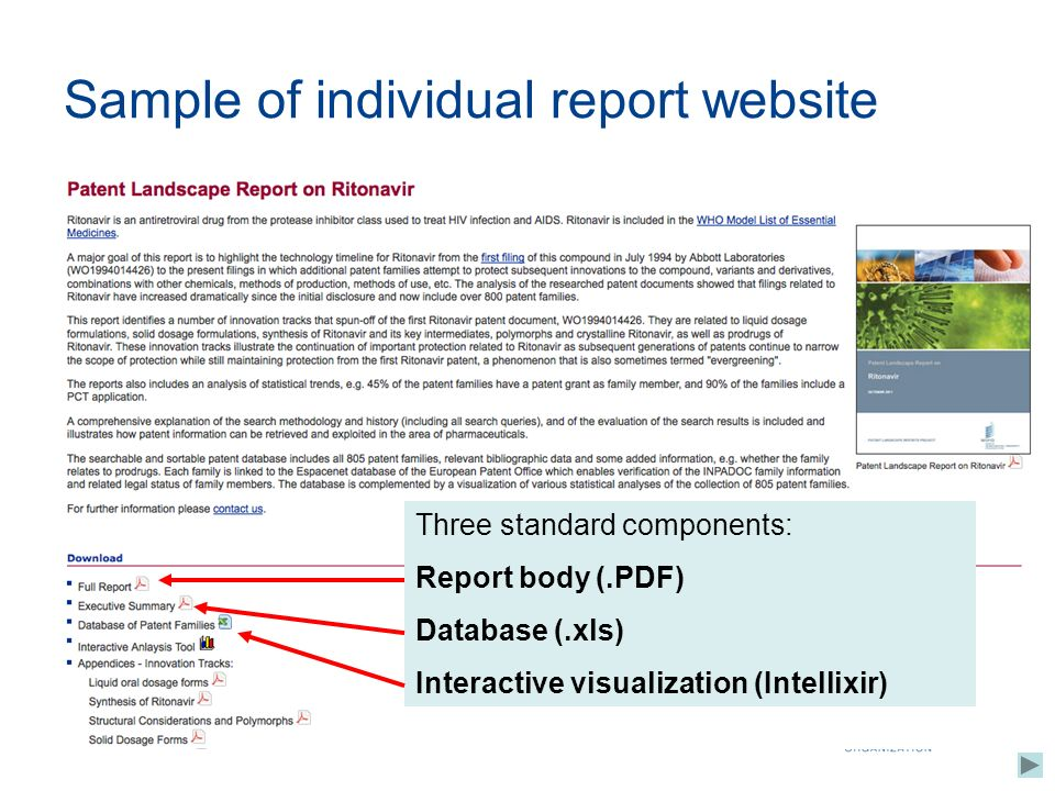 Sample of individual report website Three standard components: Report body (.PDF) Database (.xls) Interactive visualization (Intellixir)