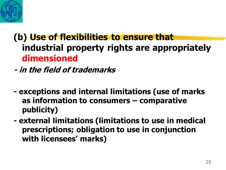25 (b) Use of flexibilities to ensure that industrial property rights are appropriately dimensioned - in the field of trademarks - exceptions and inte
