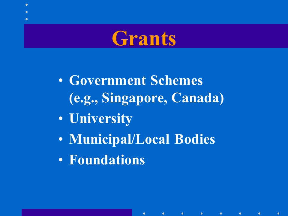 Grants Government Schemes (e.g., Singapore, Canada) University Municipal/Local Bodies Foundations