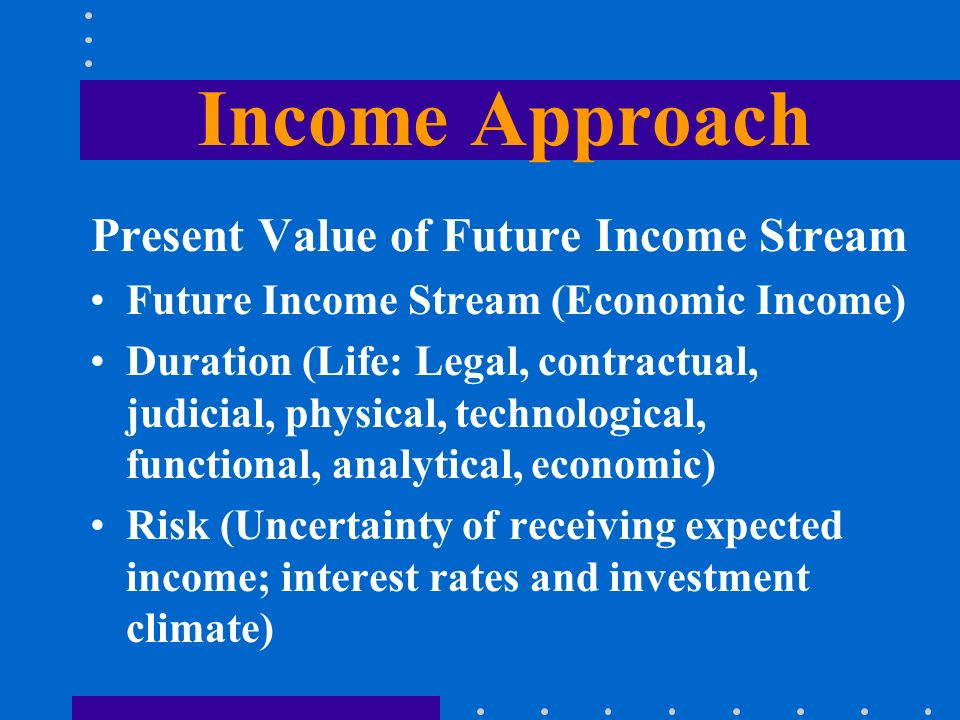 Income Approach Present Value of Future Income Stream Future Income Stream (Economic Income) Duration (Life: Legal, contractual, judicial, physical, technological, functional, analytical, economic) Risk (Uncertainty of receiving expected income; interest rates and investment climate)