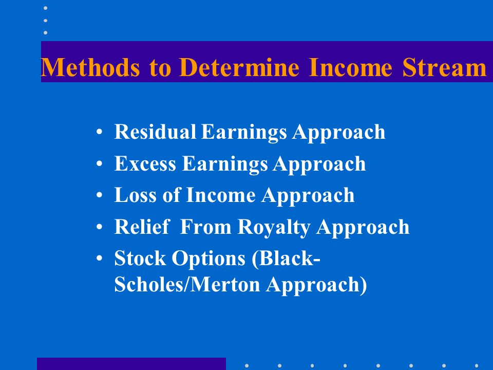 Methods to Determine Income Stream Residual Earnings Approach Excess Earnings Approach Loss of Income Approach Relief From Royalty Approach Stock Options (Black- Scholes/Merton Approach)
