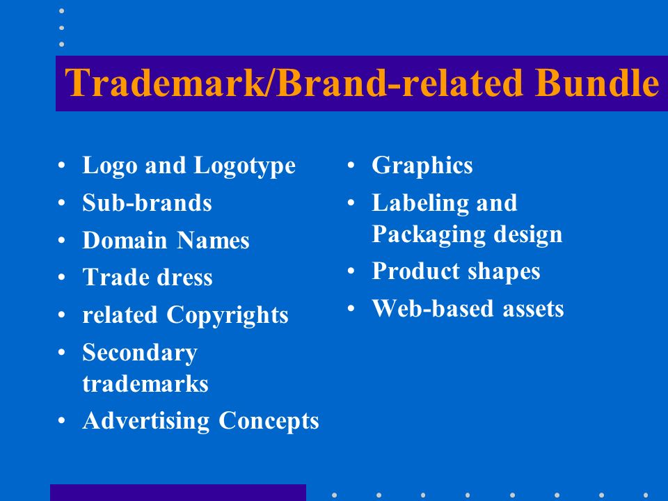 Trademark/Brand-related Bundle Logo and Logotype Sub-brands Domain Names Trade dress related Copyrights Secondary trademarks Advertising Concepts Grap
