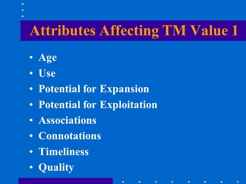 Attributes Affecting TM Value 1 Age Use Potential for Expansion Potential for Exploitation Associations Connotations Timeliness Quality