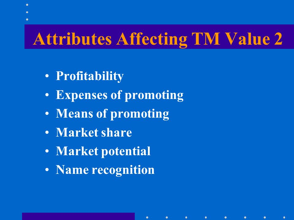 Attributes Affecting TM Value 2 Profitability Expenses of promoting Means of promoting Market share Market potential Name recognition