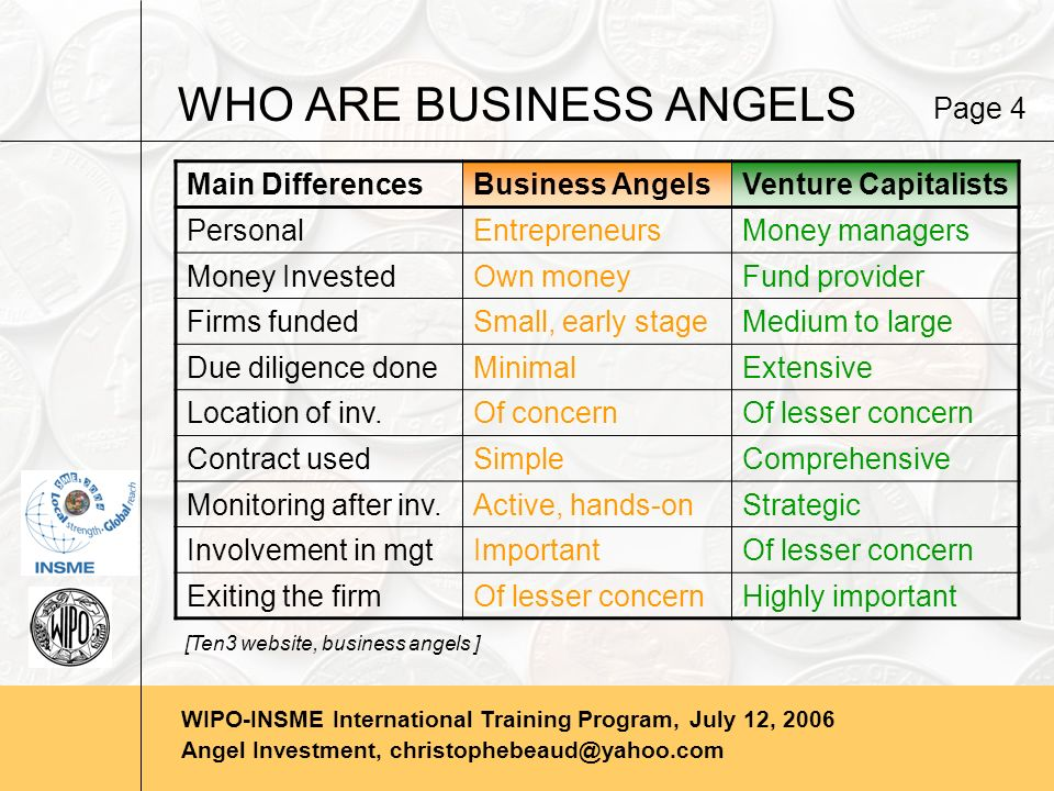 WIPO-INSME International Training Program, July 12, 2006 Angel Investment, christophebeaud@yahoo.com WHO ARE BUSINESS ANGELS Main DifferencesBusiness AngelsVenture Capitalists PersonalEntrepreneursMoney managers Money InvestedOwn moneyFund provider Firms fundedSmall, early stageMedium to large Due diligence doneMinimalExtensive Location of inv.Of concernOf lesser concern Contract usedSimpleComprehensive Monitoring after inv.Active, hands-onStrategic Involvement in mgtImportantOf lesser concern Exiting the firmOf lesser concernHighly important Page 4 [Ten3 website, business angels ]
