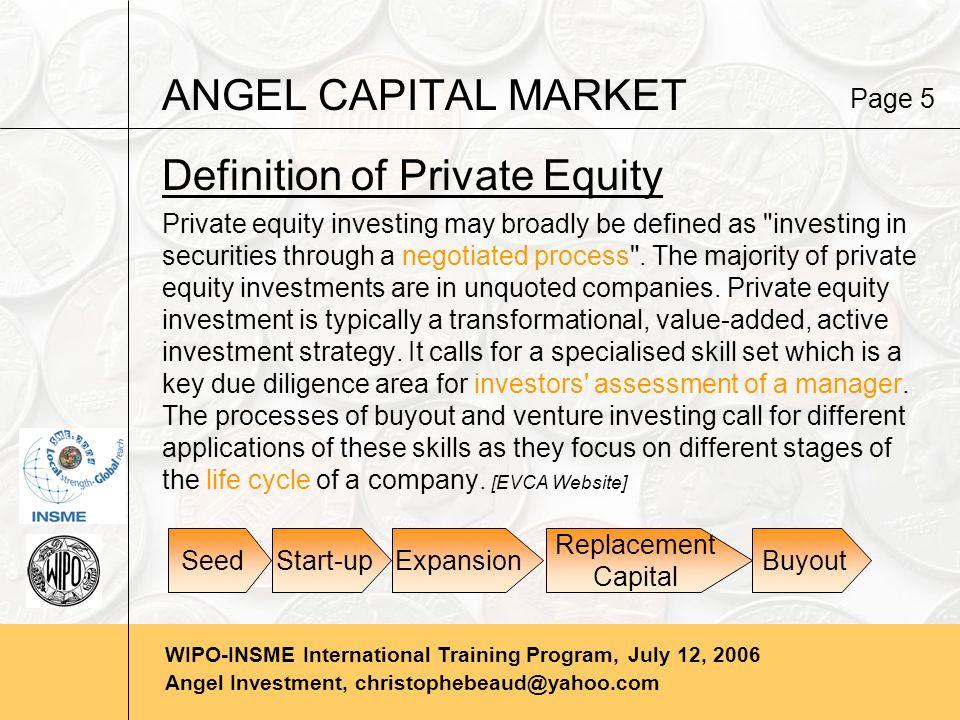 WIPO-INSME International Training Program, July 12, 2006 Angel Investment, christophebeaud@yahoo.com ANGEL CAPITAL MARKET Page 6