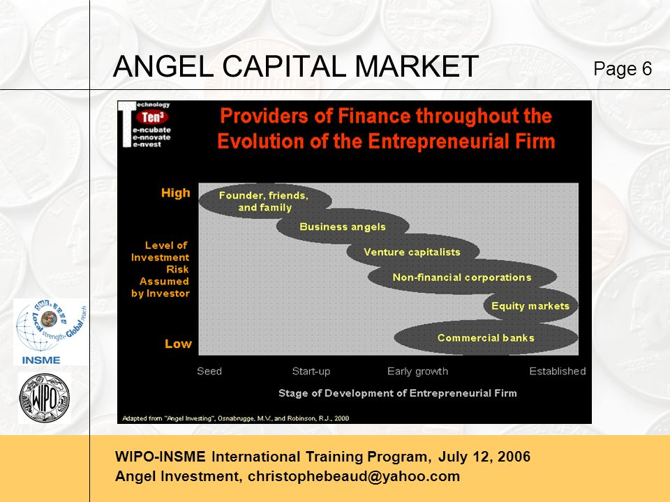 WIPO-INSME International Training Program, July 12, 2006 Angel Investment, christophebeaud@yahoo.com ANGEL CAPITAL MARKET Page 6