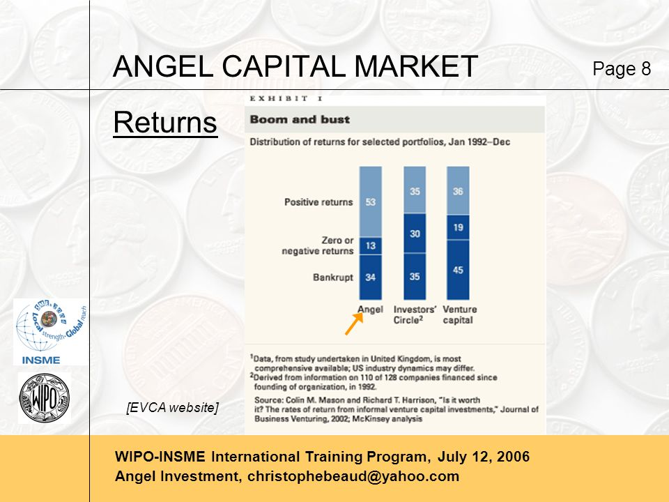 WIPO-INSME International Training Program, July 12, 2006 Angel Investment, christophebeaud@yahoo.com ANGEL CAPITAL MARKET Returns Page 8 [EVCA website]