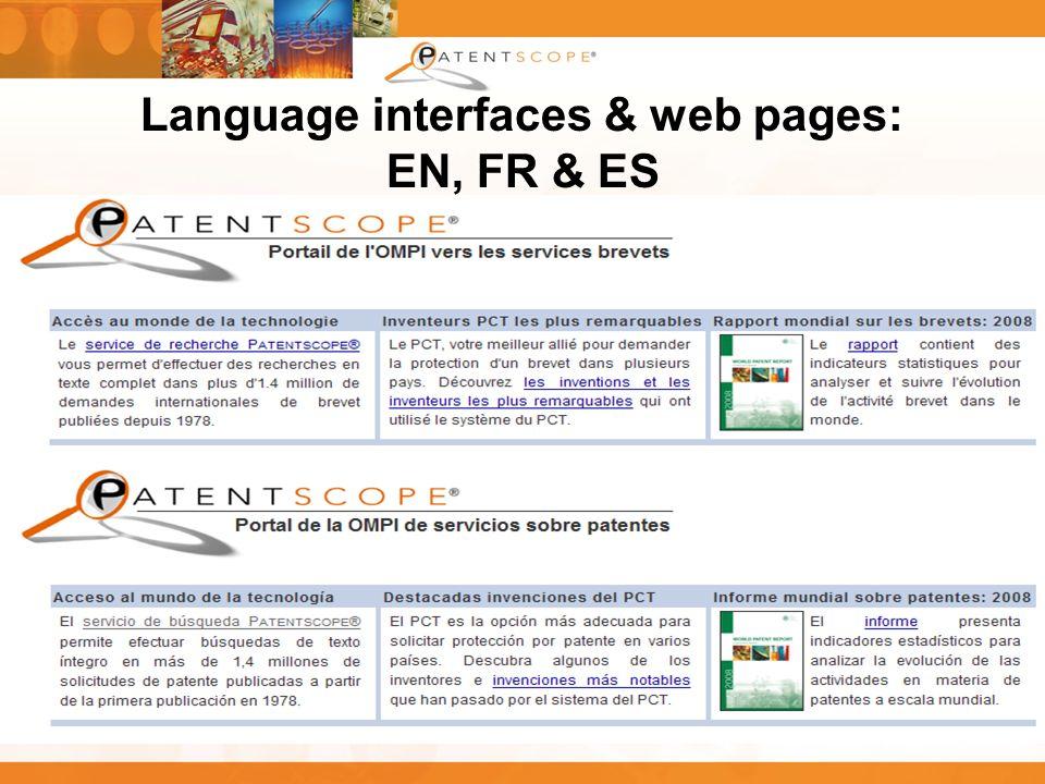 13 Language interfaces & web pages: EN, FR & ES