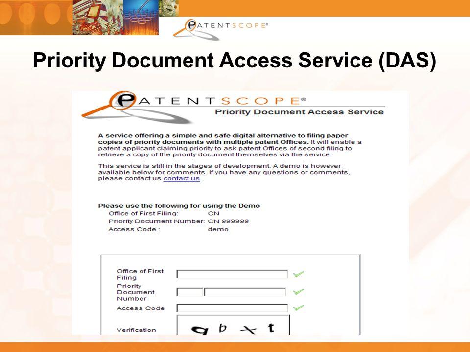 27 Priority Document Access Service (DAS)