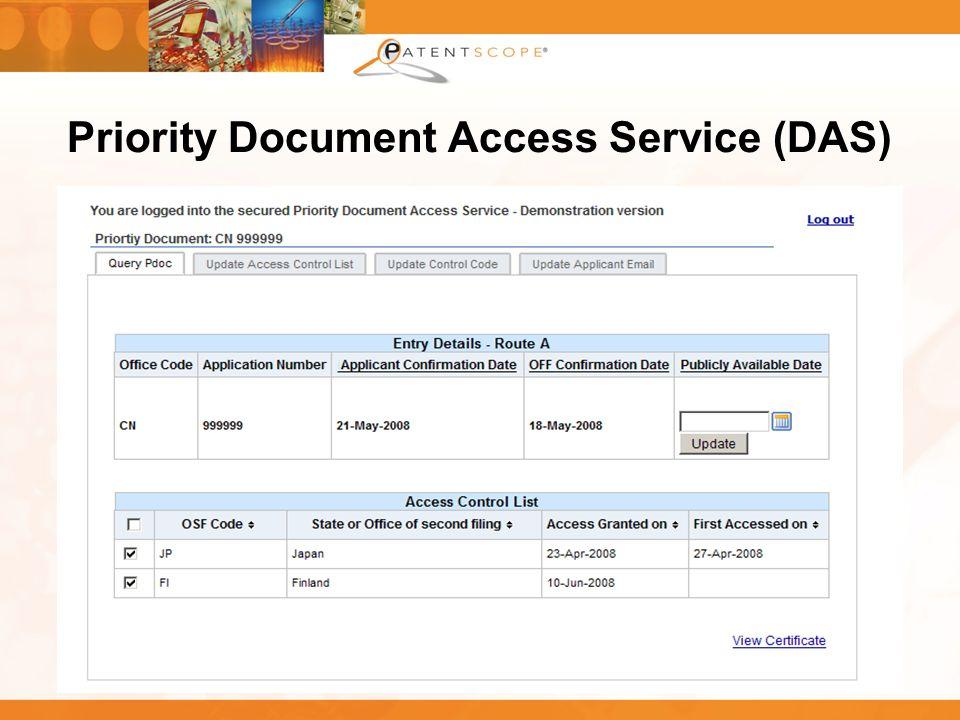 28 Priority Document Access Service (DAS)