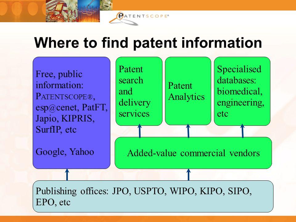 8 Where to find patent information Publishing offices: JPO, USPTO, WIPO, KIPO, SIPO, EPO, etc Free, public information: P ATENTSCOPE®, esp @ cenet, Pa