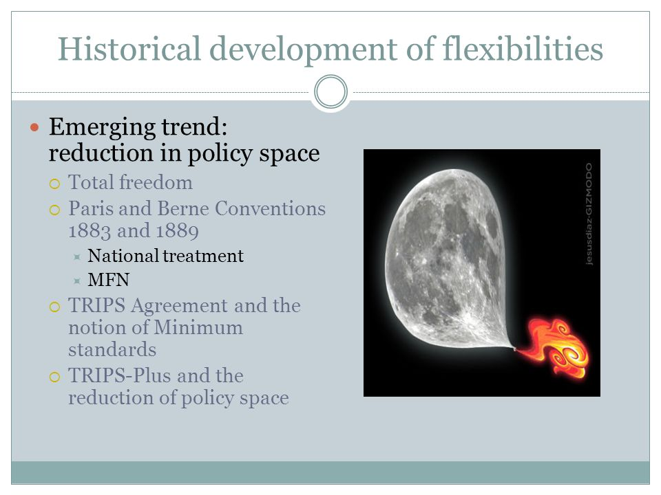 Historical development of flexibilities Emerging trend: reduction in policy space Total freedom Paris and Berne Conventions 1883 and 1889 National treatment MFN TRIPS Agreement and the notion of Minimum standards TRIPS-Plus and the reduction of policy space