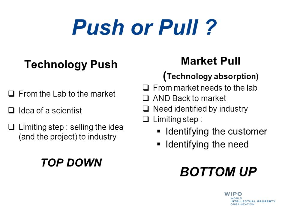 Technology Push From the Lab to the market Idea of a scientist Limiting step : selling the idea (and the project) to industry TOP DOWN Market Pull ( T
