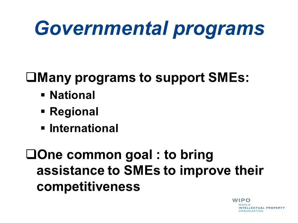 Governmental programs Many programs to support SMEs: National Regional International One common goal : to bring assistance to SMEs to improve their co