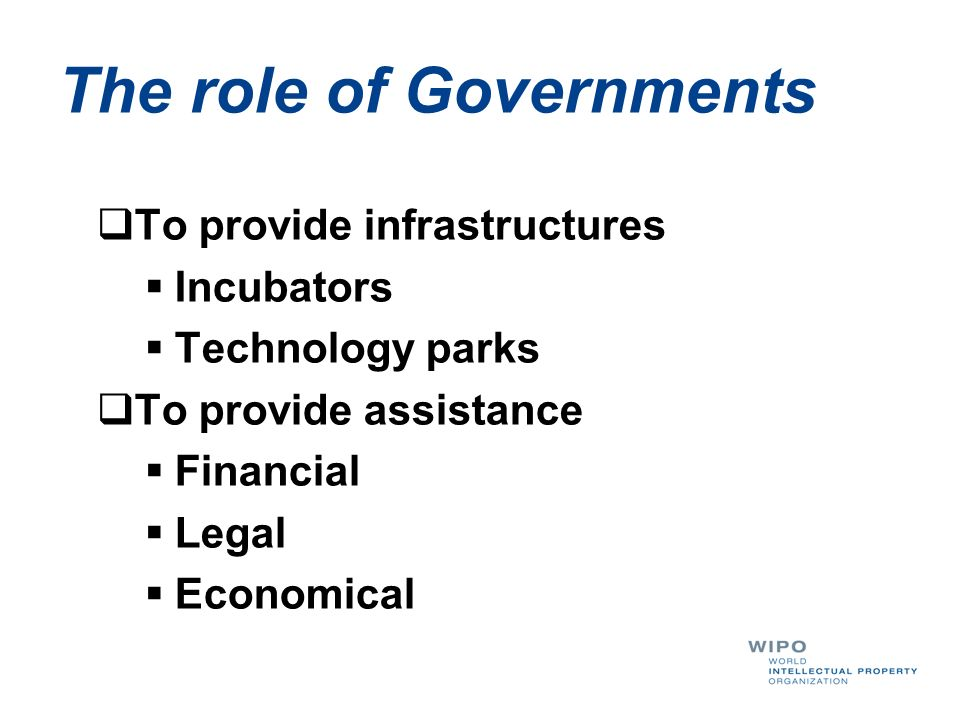 The role of Governments To provide infrastructures Incubators Technology parks To provide assistance Financial Legal Economical