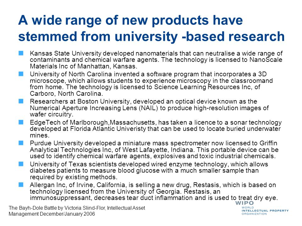 A wide range of new products have stemmed from university -based research Kansas State University developed nanomaterials that can neutralise a wide r